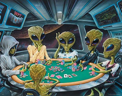 Area 51 Poker UFO Aliens Playing Poker Poster Art Print 11 x 14 Texas Hold'em Game Room Wall Decor