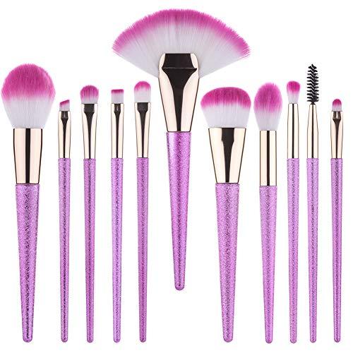 Summifit 11 Pcs Makeup Brushes Set Powder Blush Blending Eyeshadow Concealer Contour Lip Highlighter Brush Cosmetic Tools