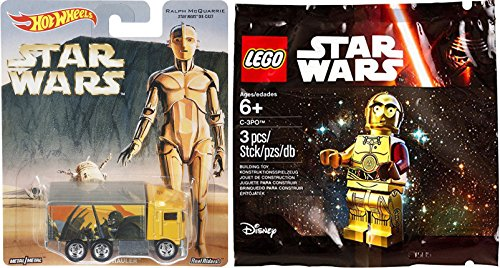 Hot Wheels Star Wars C-3PO Set - Pop Culture Hiway Hauler Real Riders & Lego Mini Figure Exclusive Red Arm Edition
