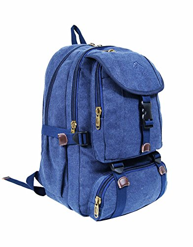 OUTDOOR GEAR Mens Women Canvas Backpack 13, 13.3, 15, 15.6 Inch Laptop Rucksack   Camping Hiking Travel Weekend Bag   30 Liters (Navy)