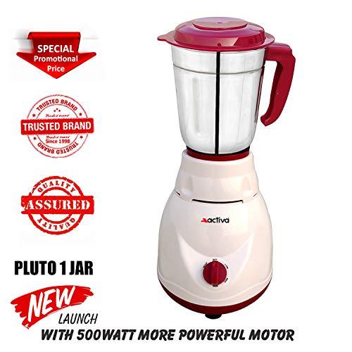 ACTIVA 500 Watt Pluto Full Abs Shock Proof Body with 1 Jar Mixer Grinder (White)