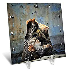 3dRose Dreamscapes by Leslie - Animals - Bear Hug - 6x6 Desk Clock (dc_314220_1)