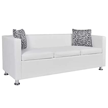 Amazon.com: Contemporary White Sofa with 2 Pillows Luxury 3 ...