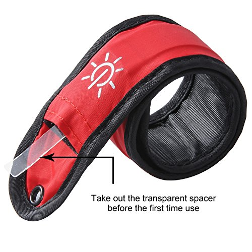 Techion 2 Pack LED Slap Armband / LED Snap on Bracelet with High Visibility for Cycling / Biking / Walking / Jogging / Running Gear