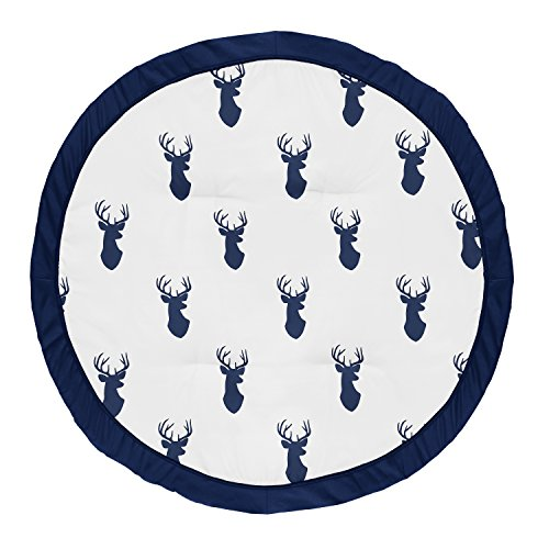 Sweet Jojo Designs Navy Blue and White Stag Playmat Tummy Time Baby and Infant Play Mat for Woodland Deer Collection