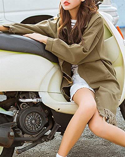 Giacche Di Cappotto Outerwear Giacca Manica Autunno Bavero Donna Stlie Chiusura Bottoni Tasche Primaverile Vintage Grazioso Armygreen Casual Moda Jeans Hipster Con Lunga Fashion Nappe qSp4wxFq
