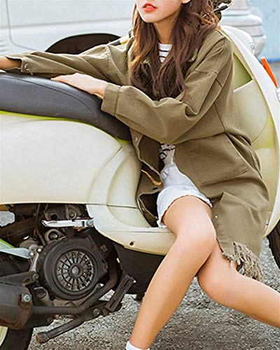 Di Manica Vintage Bottoni Primaverile Con Lunga Cappotto Mode Autunno Fashion Bolawoo Nappe Casual Chiusura Tasche Giacche Marca Outerwear Donna Jeans Armygreen Hipster Giacca Bavero wx6HPIYq