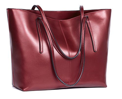 Obosoyo Women's Handbag Genuine Leather Tote Shoulder Bags Soft Hot Wine-red ()