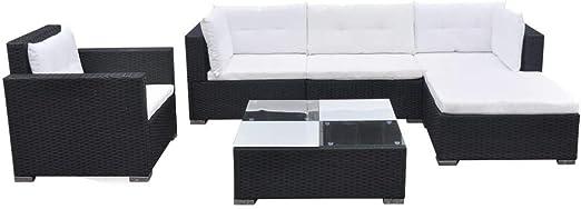 vidaXL Conjunto de Muebles de Jardín 6 Piezas Ratán Sintético Negro Juego Comedor Exterior Mesa y Sillas Patio Porche Terraza Material Estilo Mimbre: Amazon.es: Jardín