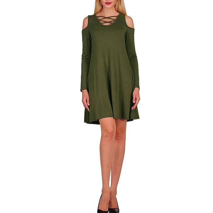 jessie - Vestido - Manga Larga - para mujer verde militar Medium  Amazon.es   Ropa y accesorios 433519c6148