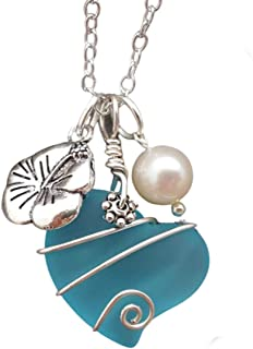 "product image for Hawaii Jewelry,""Heart of the sea"" with designer wire wrap, Hawaii State Flower Hibiscus, Pearl (Hawaii Gift Wrapped, Customizable Gift Message)"