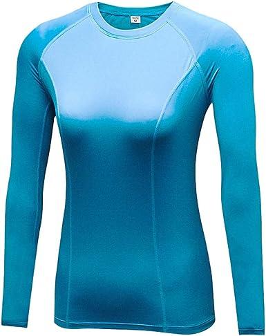 DaobaWOMEN Camiseta Térmica Mujer Ropa Interior de Compresión Manga Larga Camisa Funcional Termo Activo, Adecuado para Fitness, Yoga, Correr