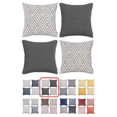 HOMEPLUS Plaid Cotton Decorative Pillow Covers 4 pcs Throw Pillows Covers Navy Blue Couch Pillowcase Cushion Cover 17X17 Throw Pillow Cover Couch