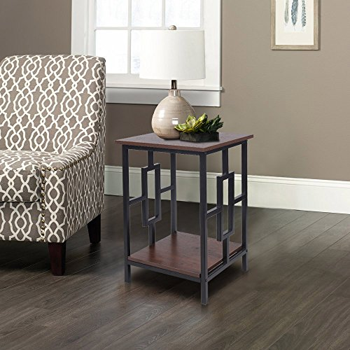 GIA Side End Table - Antique Wooden Color - Black Frame - Sofa Height - Easy Assemble - Heat Resistance Wooden Top and Bottom (Frame Wooden Sofas)