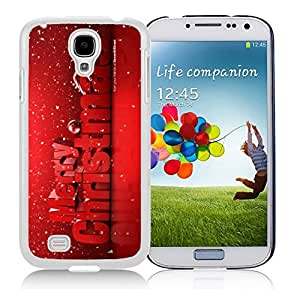Galaxy S4 Case,Red Merry Christmas With Snowflakes Christmas Series-TPU White S4 Protective Case,Samsung S4 I9500 Case