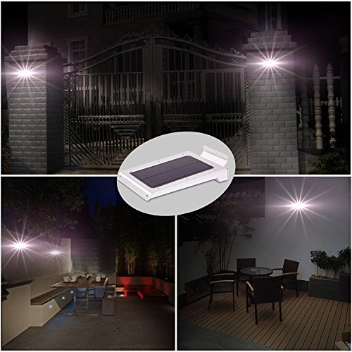 46 LED Outdoor Solar Wall Light- Motion Activated Security Lighting- Wireless Exterior (Stainless Flagpole Socket)