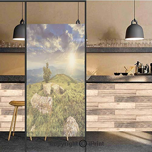 3D Decorative Privacy Window Films,Small Tree Behind Boulders Hillside Grass Greenery Meadow Scenic Dramatic,No-Glue Self Static Cling Glass Film for Home Bedroom Bathroom Kitchen Office 17.5x71 Inch