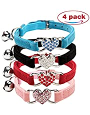 CHUKCHI Cat collar with bell bling-Soft Velvet Safe Cat Adjustable Collar with Crystal Heart Charm and Bells 8-11 Inches