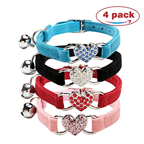CHUKCHI Pink Soft Velvet Safe Cat Adjustable Collar with Crystal Heart Charm and Bells 8-11 Inches(Black+Red+Pink+Blue)