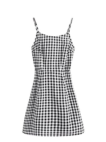 (SweatyRocks Women's Spaghetti Strap Lace Up Back Casual Short Mini Gingham Dress Black and White S)