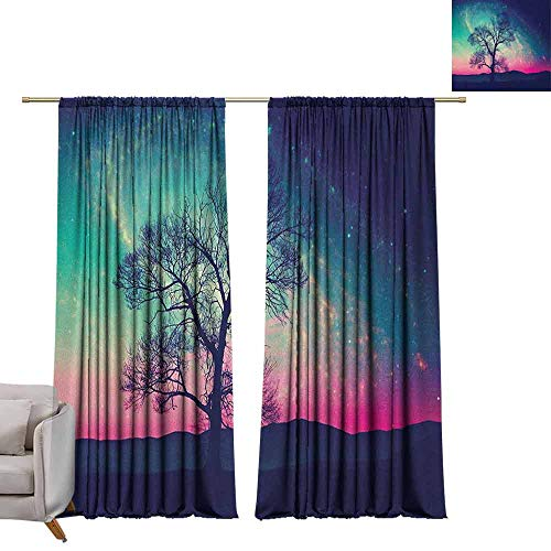 berrly Room Darkening Wide Curtains Galaxy,Vibrant Stars Magical Fantastic Space Cosmic Lonely Tree Aurora Borealis, Pink Aqua Dark Blue W96 x L108 Thermal Insulating Blackout Curtain