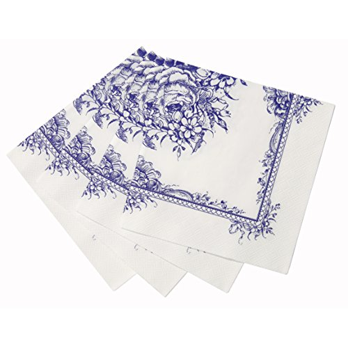 Talking Tables Party Porcelain Blue Paper Napkins (33cm) for a Tea Party or Birthday, Blue & White (20 Pack) (Porcelain Tables)