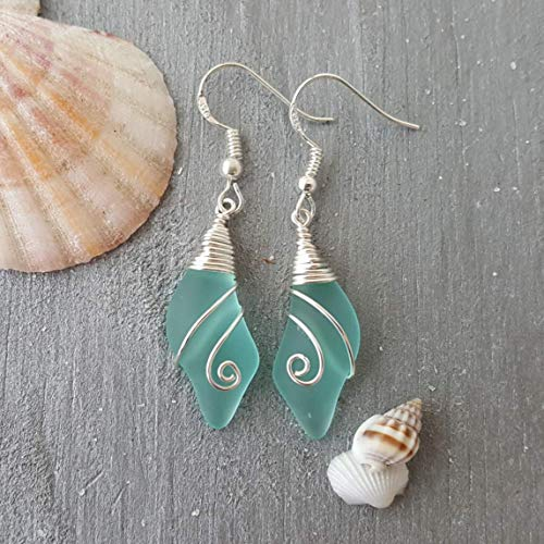 (Handmade in Hawaii, wire wrapped Aqua wave sea glass earrings,