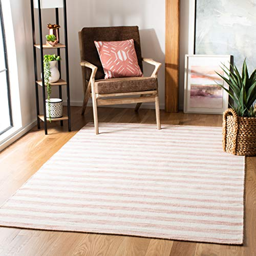 Safavieh Dhurries Collection DHU575D Hand Woven Rust and Ivory Premium Wool Area Rug (8