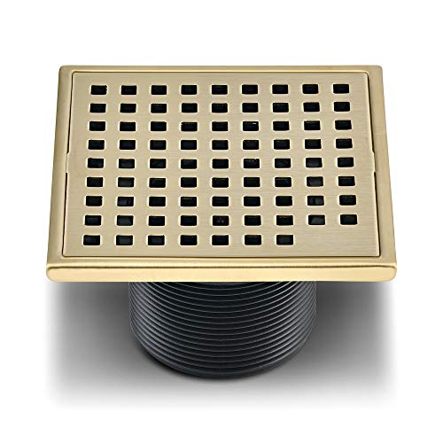 QM Square Shower Drain, Grate made of Stainless Steel Marine 316 and Base made of ABS, Lagos Series Mira Line, 4 inch, Satin Gold Finish, Kit includes Hair Trap/Strainer and Key ()