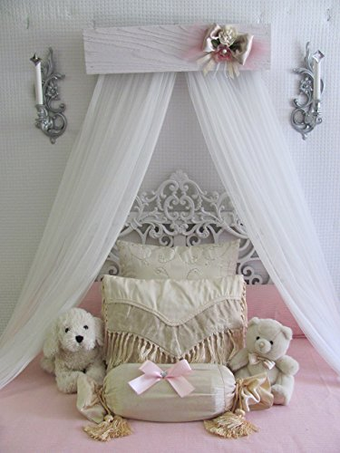 Princess Bed Crown Canopy Crib Baby Nursery Decor Shabby Chic Princess Girl's Bedroom FREE White curtains Vintage inspired Chalk paint SO ZOEY BOUTIQUE SALE (Paint Chic Shabby)