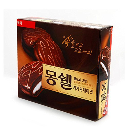 Lotte MongShell TongTong Real Cream Cacao Cake / Korea Chocolate Pie 몽쉘통통 2 packs