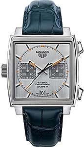 TAG Heuer Monaco Mens Watch on Dark Blue Leather Strap CAW211C.FC6183