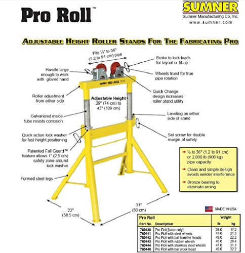 Sumner 780444 Pro Roll with Stainless Steel Wheels, 29'' to 43'' Adjustable Height, 2000 lb. Capacity by Sumner Manufacturing (Image #1)