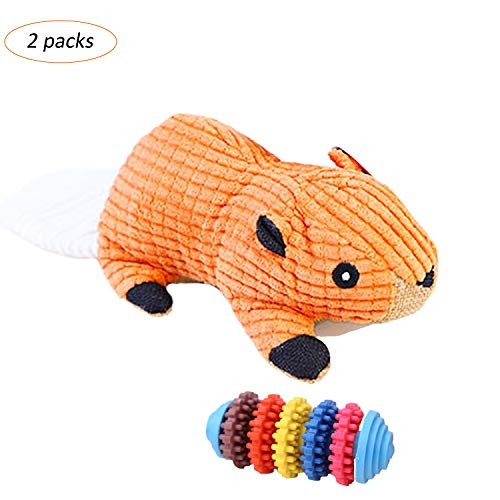 TinyPaw 11″ Interactive Chew Toys-Perfect Dog Chew Toys for Clean Tooth & Trainning-1 Extra Free Food Leakage Toy Included (Orange)