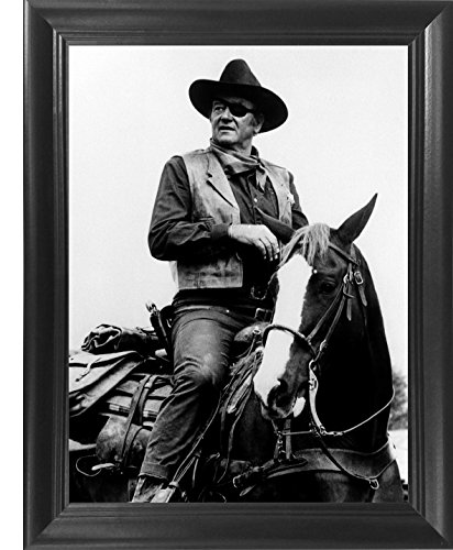 """John Wayne Poster Framed 3D Wall Art – The Cowboys 3D Lenticular Movie Posters - 14.5x18.5"""" – The Duke on a Horse - Unbelievable Life Like 3D Print, Cool Unique Vintage Collectible Art Décor Picture"""