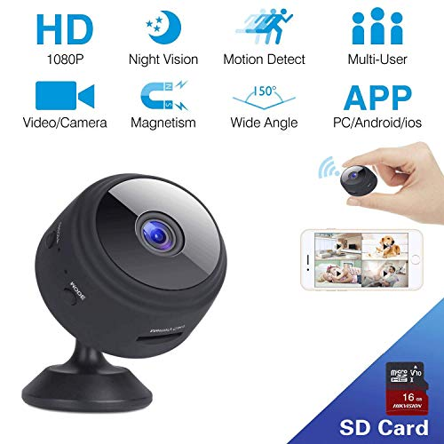 Hidden Spy Camera BIZGOOD WiFi Mini Cameras Wireless HD IP 1080P Portable Video Recorder for Indoor Home Security Monitoring Nanny Cam Night Vision Motion Detection Wide Angle Magnetic