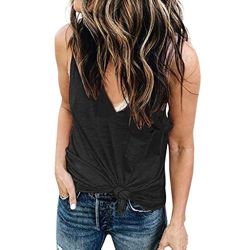 Tank Tops for Women Dainzuy Sexy Casual Solid Vest Top Summer V-Neck Blouse Twist Knot Sleeveless Shirts with Pockets Black ()