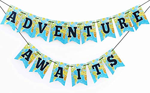Boston Creative company Adventure Awaits Banner,Bon Voyage Banner, Travel Theme Banner, Adventure Awaits Sign, Retirement Party Banner, Graduation Party, Moving Party, Cardstock Banner