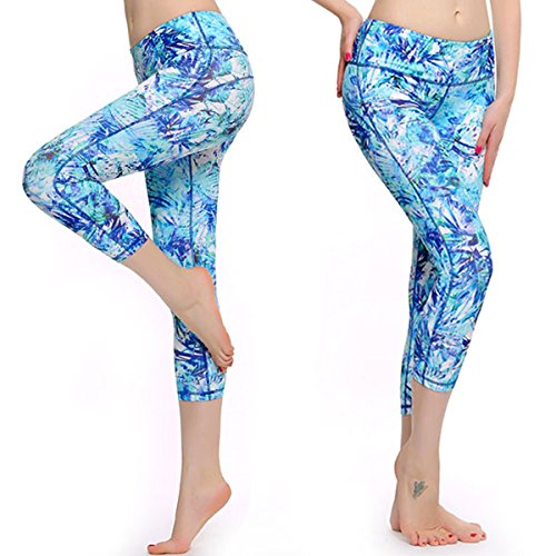 PASSWIN PASSWIN Dry-Fit Yoga Pants Workout Printed Running Sport Leggings Workout Tights L Light Blue price tips cheap