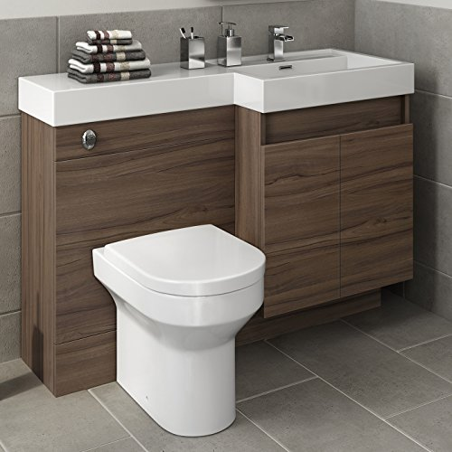 walnut bathroom vanity unit basin sink toilet furniture cabinet set
