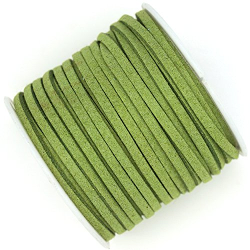 10 Yards Faux Suede Leather Lace Cord 3x1.5mm for Jewelry & Crafts You Choose Color (Lime Green) (Green Leather Cord)
