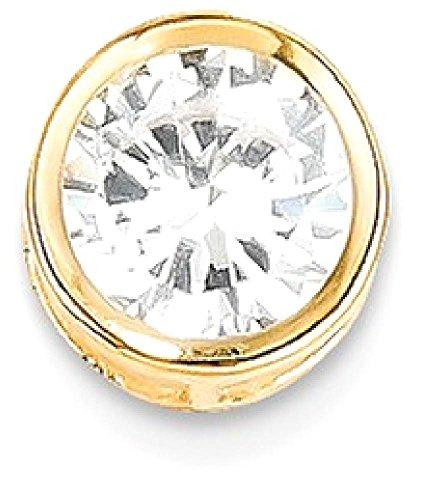 ICE CARATS 14k Yellow Gold 7mm Cubic Zirconia Bezel Pendant Charm Necklace Slide Chain Gemstone Fine Jewelry Gift Valentine Day Set For Women Heart (14k Yellow Slide)