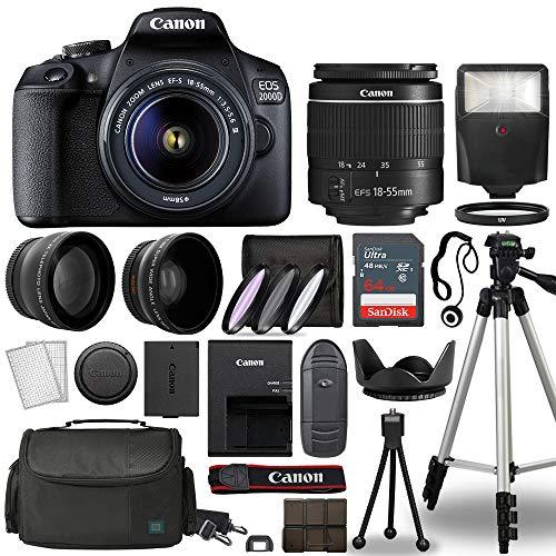 Canon EOS 2000D / Rebel T7 Digital SLR Camera Body w/Canon EF-S 18-55mm f/3.5-5.6 is STM Lens 3 Lens DSLR Kit Bundled with Complete Accessory Bundle + 64GB + Flash + Case & More – International Model