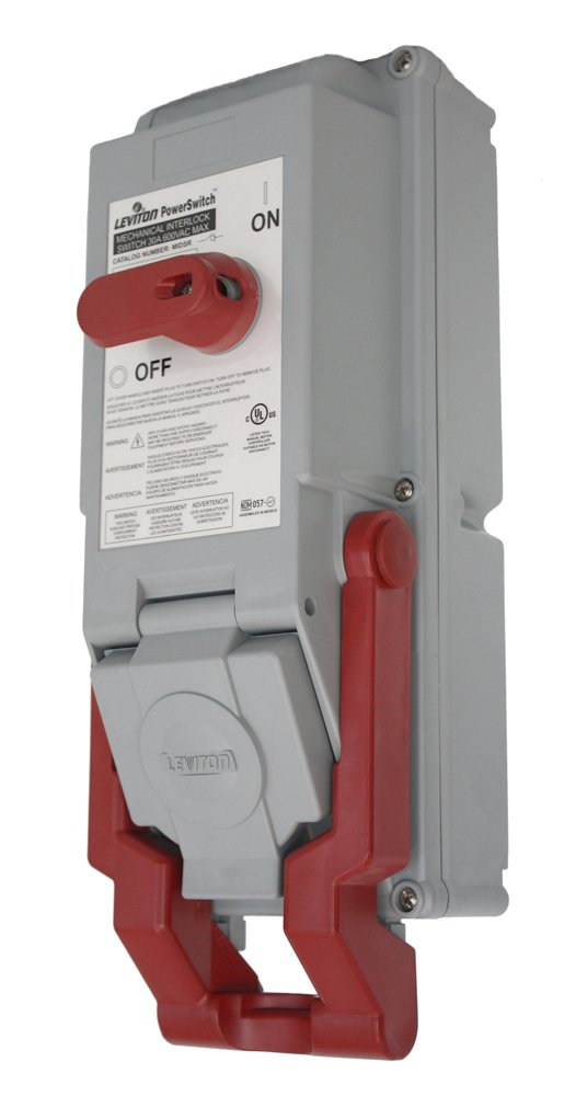 Leviton MIDSR-23 PowerSwitch Mechanically Interlocked, Safety Disconnect Switch with Locking Receptacle Bracket, 30A, Rated IP54 & IP66, Gray