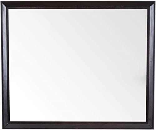 Maykke Imogen 30 H x 36 W Rectangular Brown Bathroom Vanity Mirror Wood Framed Wall Mount Mirror Decor for Bathroom, Bedroom, Living Room Chocolate Birch Finish, YSA7036002