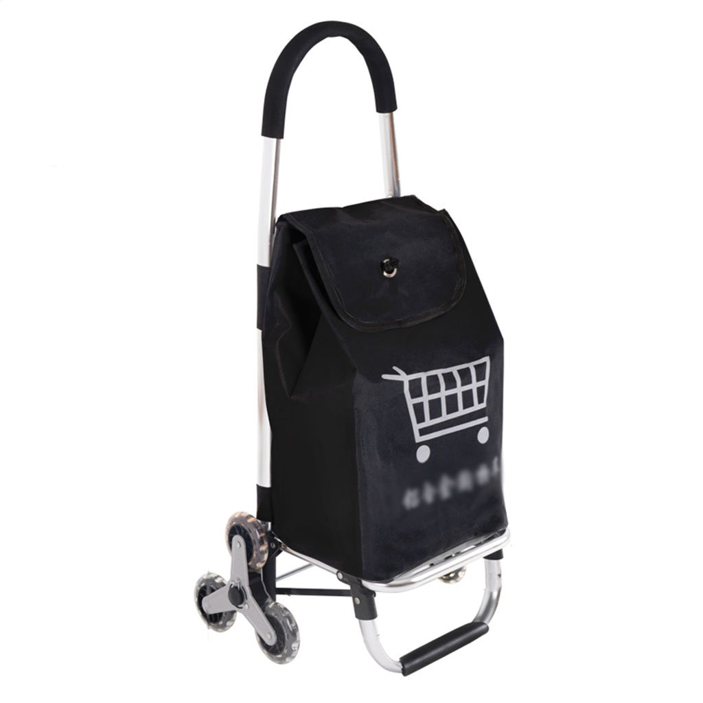 Shopping cart Push-Pull car Grocery Shopping cart Home Climbing Stairs Small cart Trolley Old Man Shopping cart Portable Trailer (Color : Black, Size : 42 * 28 * 91cm) Shopping Trolleys