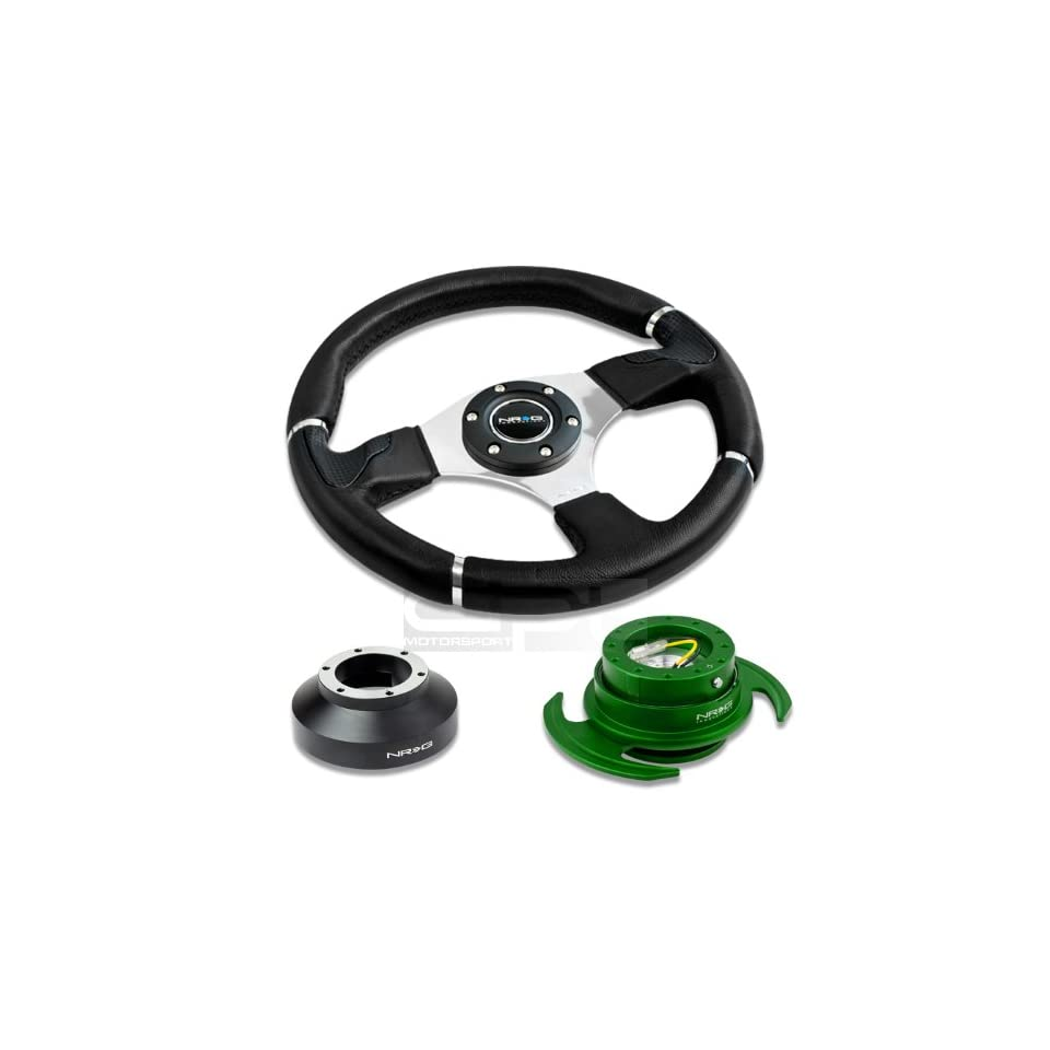 NRG Innovations 13.78 350mm Black Leather Racing Steering Wheel Combo with 6 Hole Short Hub Adapter with Gen 3.0 with Handle Green Quick Release Kit SRK 131H