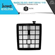 Dirt Devil F45 Home Revolution Brand Replacement Washable and Reusable Filter; Made To Fit Dirt Devil Pets Canister SD40000 model and EZ Lite Canister SD40010 model; Compare to Dirt Devil Part # 2KQ0107000