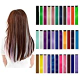 33 Pieces 21 Inch Colorful Hair Extensions, Straight Long DIY Fiber Hair Piece Wigs Support Perm Straightening
