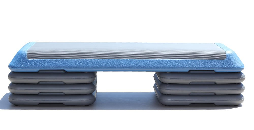 One Strong Southern Girl Aerobic Step with Extra Risers, Gym Sized Workout Step, Blue Platform with 6 Grey Risers by One Strong Southern Girl